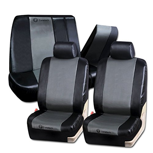 Zone-Tech-PU-Leather-Car-Seat-Covers-BlackGray-Classic-Exquisite-Leather-Car-Seat-Covers-Airbag-compatible-and-Split-Bench