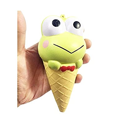 Green Squishy Frog Prince Ice Cream Squishy Toy Super Soft Touching 5 Inch Jumbo Squishy for Kids Hand Puppet Squishy Jumbo Squishies Under 10: Toys & Games