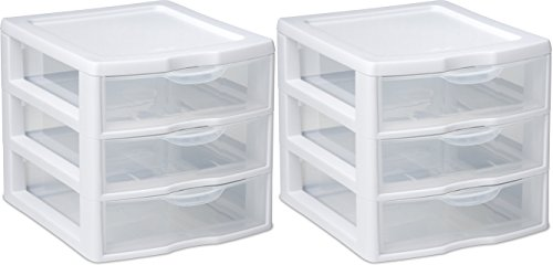 Organizer Mini 3 Drawer Wht Sm (pack of 2) (Rubbermaid Drawers Storage)