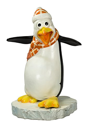 Queens of Christmas WL-PNG-FNY-OR Decorative Flipper The Funny Penguin with a Scarf, Orange -