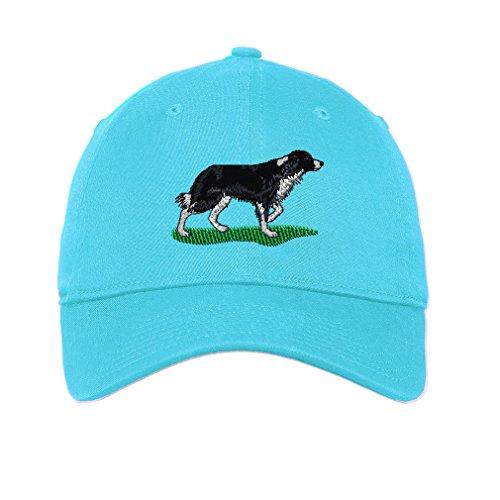 Speedy Pros Border Collie Dog Twill Cotton 6 Panel Low Profile Hat Aqua