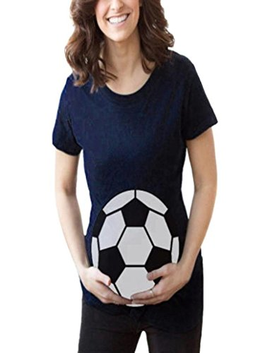 Women Maternity T-Shirt Pregnants Breastfeeding and Nursing Casual Side Ruched Football Print Tops (XL, Navy) - Ruched Ball