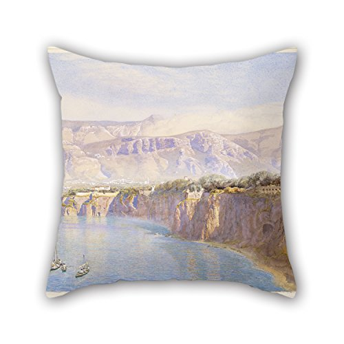 Oil Painting John Brett - Near Sorrento Pillow Shams ,best For Boys,floor,pub,girls,dinning Room,living Room 18 X 18 Inches / 45 By 45 Cm(each Side) (Wicker Brett)