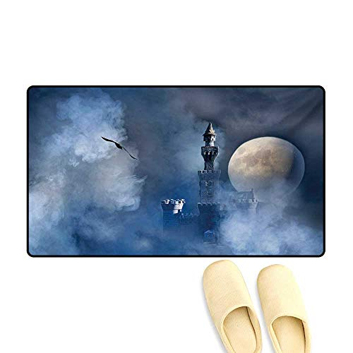 (Bath Mat,Castle on Clouds at Moon Night Scary Gothic Fiction Medieval Mythology Evil Graphic,Door Mat Small Rug,Dark Blue,32