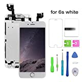 Screen Replacement Compatible for iPhone 6s White LCD Display & Touch Screen Digitizer Replacement + Home Button+Front Camera+Earpiece Pre-Assembled +Screen Protector Free Repair Tools(4.7'')