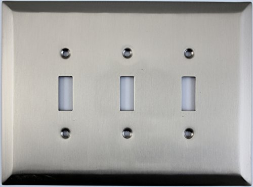 Jumbo Stamped Satin Nickel Three Gang Toggle Light Switch Wall Plate