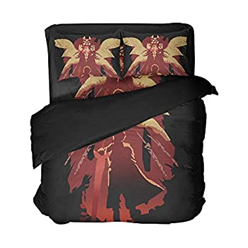 Image of Home and Kitchen Ancofan Devil May Cry Vergil Bedding Sheet Set Game Role Play Pattern Bed Sets 3pcs Twin Full Queen King 4pcs (Queen 4pcs)