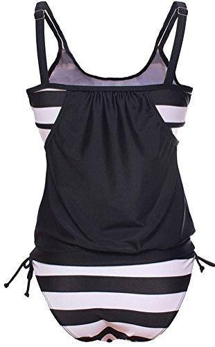 DIERDI Mujer Tankini Stripes 2pcs más tamaño Ladies Casual traje de baño Comfort Beachwear con pantalones cortos Blanco Negro