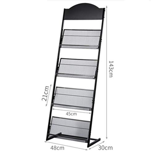 Magazines and Brochures Stand with Wheels, Literature Display Stand with 4 Shelves Floor Standing Magazine Brochure Holder Rack, Sliver/Grey (B)