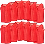 Scrimmage Vests, 12 Pcs Colorful Polyester Soccer Training Vests for Children Youth Sports