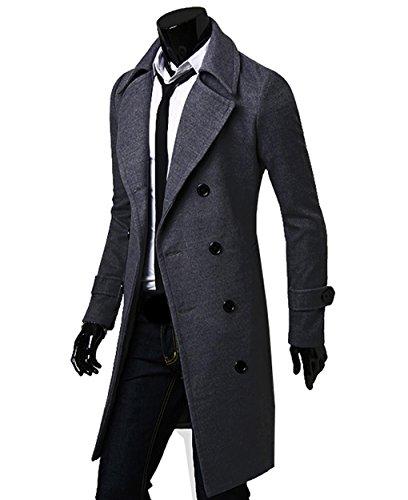 LemonGirl Mens Lapel Double-Breasted Jacket Long Coat Trenchcoats at Amazon Mens Clothing store: