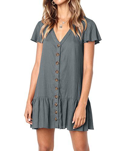 Bbalizko Womens Cute V Neck Short Sleeve Buttion Down Loose Fit Ruffle Mini Dresses (Medium, Dark Grey)