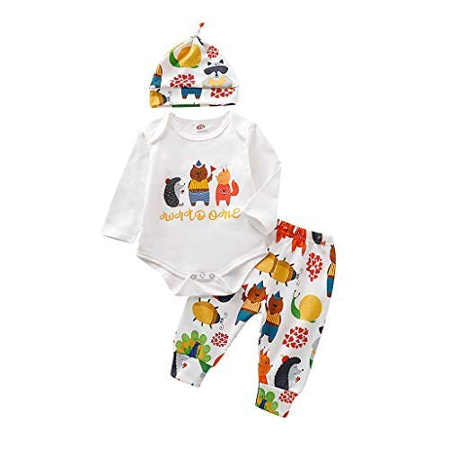 Newborn Kids Outfits Romper,Crytech Cute Cotton Cartoon Animal Stripe Letter Print Long Sleeve with Hat and Pants Sets 3Pc for Infant Baby Boy Girls Halloween Costume Clothes (0-6 Months, White)