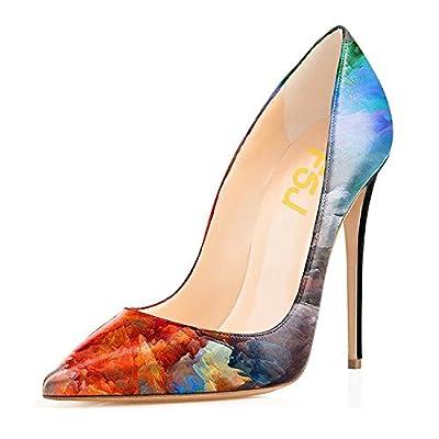 FSJ Women Fashion Pointed Toe Pumps High Heel Stilettos Sexy Slip On Dress Shoes Size 9.5 Blue-Multi