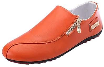 WUIWUIYU Men's Casual Fashion Zipper Oxfords Shoes Slip-On Loafers Comfort Driving Flats Moccasins Orange