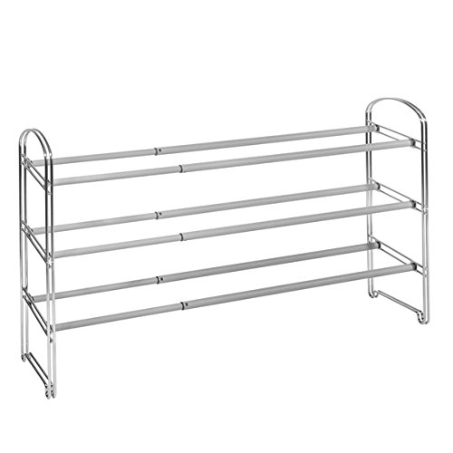 - Seville Classics 3-tier Expandable Chrome Steel Shoe Rack, Chrome Finish