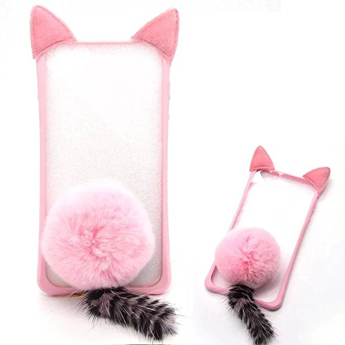 iPhone 5S Cute Case, iPhone SE 5 Case, Bonice New Attractive 3D Cute Cat Ear Fluffy Plush Warm Hair Ball Tail Bumper Ultra Thin Slim Protective Cover Case for Apple iphone 5 5S SE - Pink