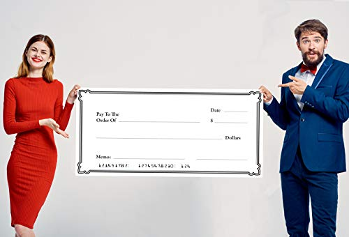 Giant Check - Big Blank Check for Award Presentation - 2 x 4 Foot Oversized, Rollable Fake Check - 24 x 48 inches Polystyrene Fundraiser Prop - Flexible & Rigid, Lighweight Material ()