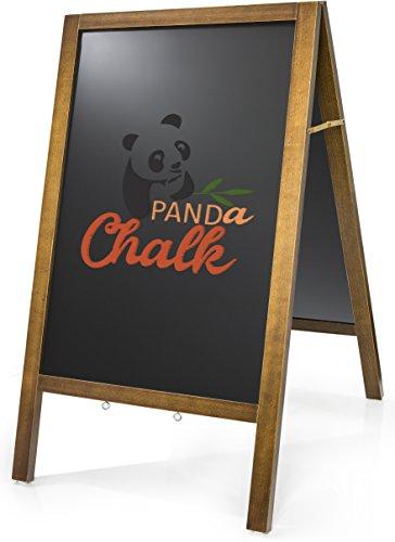 Sandwich Chalkboard – Sidewalk Blackboard With Stain Resistant Premium Porcelain Steel Surface & Vintage Pinewood Frame – A Frame Chalk Board Standing Sign For Restaurants, Bars & Coffee - Black Chalkboard Porcelain