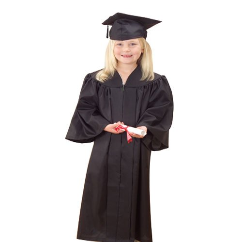 US Toy -Kids White Graduation Cap & Gown, Polyester, Gown Size: 36