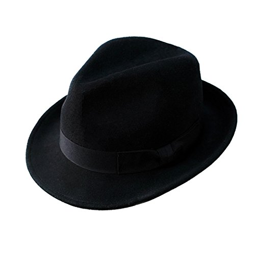 Anycosy Wool Trilby Hat Man's Felt Fedora Hat Panama Classic Manhattan Structured with Black Band (Black)