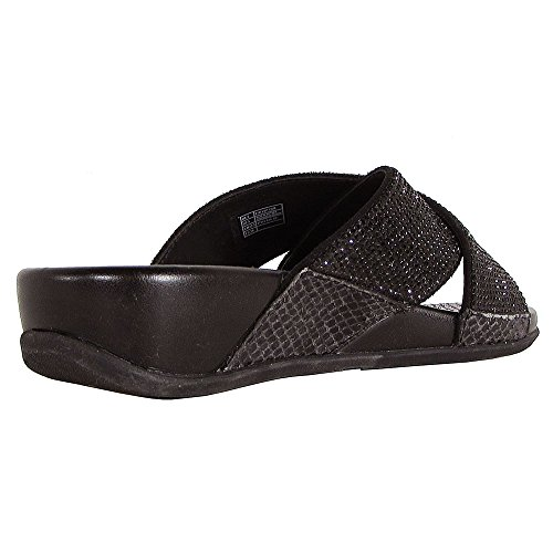 FitFlop Aix Crystal Crossover Slide - Black