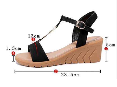 Rome thick B Color women Korean high summer sandals bottom Flat 37 shoes sandals Sandals heels buckle Wedges B sandals Size wild Fashion 1T8wvX8q