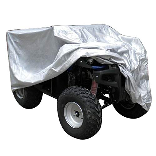 iiSPORT ATV Cover Made of Waterproof & Windproof Nylon w/Anti-UV PVC Coating Offers All Season Protection For Honda Polaris Yamaha Riding Mower and Suzuki, Silver, 82.6