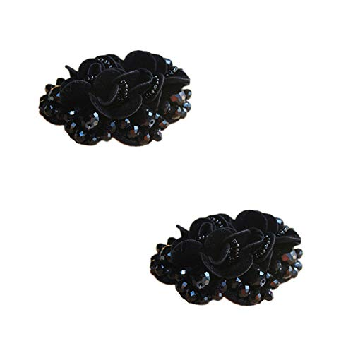 Black Charms Beaded (Douqu 2 Pcs 2.8inch Women Bow Flower Crystal Flip Flop Shoe Charms Beaded Fashion Shoe Clips (Black))