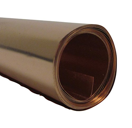 St Louis Crafts 36 Gauge Copper Metal Foil Roll, 12 Inches x 5 Feet - Metal Tooling Foil