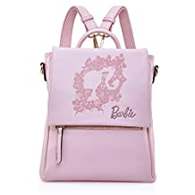 Barbie Pink Print Pattern Leather Convertible Backpack Shoulder Bag For Womens Girls BBBP094