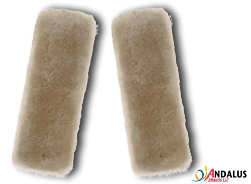 Andalus Authentic Sheepskin Car Seat Belt Cover (2 Pack), Pearl, Soft Shoulder Pad, Comfortable Driving, Genuine Natural Merino - Australia Wetsuit Brands