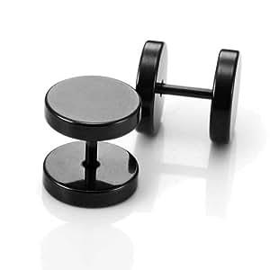 Pendientes de Ronda Barbell parte posterior del tornillo del oído Juego de los hombres del acero inoxidable, 2 piezas, Color Negro, 10mm