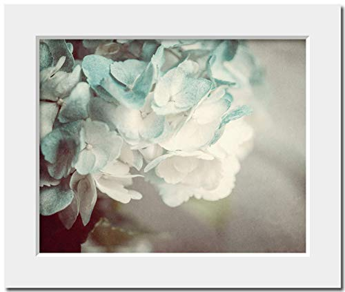 - Shabby Chic Decor Matted 8x10 Soft Teal Hydrangea Print (Fits 11x14 Frame). Nature Photography. Gifts for Her. Flower Photography. Cottage Bedroom Art.