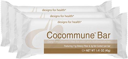 Designs for Health - Cocommune Bar - Prebiotic Fiber + No Gluten + No Dairy + 3g Net Carbs for GI Health, 18 Bars