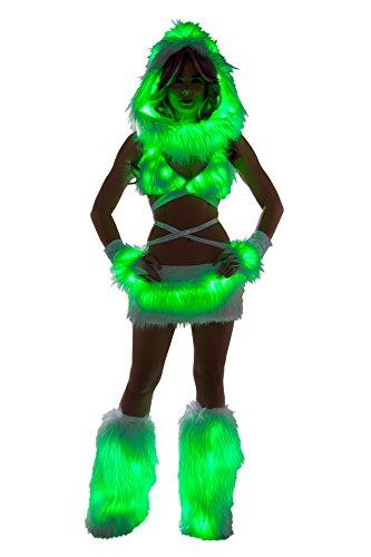 1 PC Fur Light-up Mini Skirt Rave EDM Festival Party Costume - Multiple Colors -