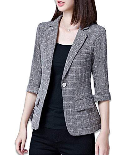Newest Autumn Jacket & Plus Size Gray Women's Blazer Tops Korean OL Style Coat One Button Blazer Female #A980,Small,BlueGray