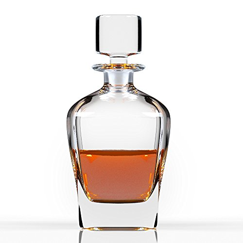 Small Decanter - Octave Premium Whiskey Crystal Glass Decanter & Glass Stopper, Cognac, Bourbon Bottle by Fine Occasion