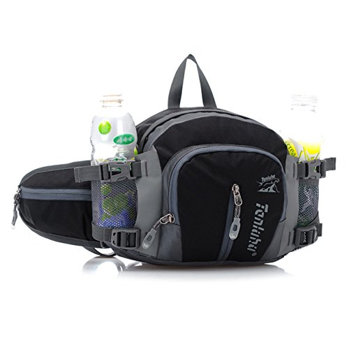 SEEU Large Sport Fanny Pack Waist Pack Bag, Water Resistent Bum Bag with 2 Water Bottle Pockets, Enough for Ipad ()