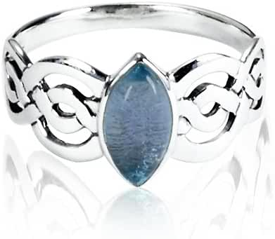 925 Sterling Silver Natural Blue Topaz Celtic Double Infinity Knot Band Ring - Nickle Free
