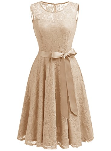 Dressystar 0009 Floral Lace Dress Short Bridesmaid Dresses with Sheer Neckline XXL Champagne