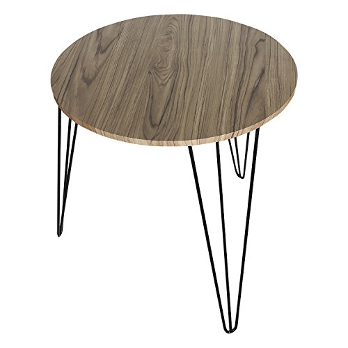 HollyHOME Wood Round Retro End Table,Accent Snack Table living Room,Sturdy Sofa Table with 3-Legs,Coffee Table,Hall Table,Console Table,Furniture for Storage,Gunmetal - Table Retro Metal Round