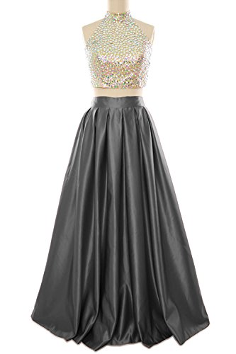 Fancy Plus Size 90s Dress (MACloth Women Two Piece High Neck Long Prom Homecoming Dress Evening Ball Gown (14,)