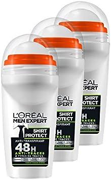 LOréal Men Expert Shirt Protect - Roll-on, protección 48h, pack de 3 x 50 ml: Amazon.es: Salud y cuidado personal