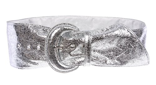 Women's Wide High Waist Metallic Crack Print Tapered Sash Belt Color: Silver Size: L/XL - 36