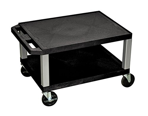 Offex Rolling 16-Inch Tuffy AV Cart 2 Storage Shelf with Nickel Legs, Electric, 4-Inch Heavy Duty Casters - Black (OF-WT16E-N) by Offex