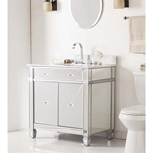 Mirage Double-Door Bath Vanity in Matte Silver (Mirr Door)