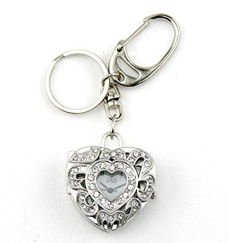 Silver Bling Heart - Novelty Charm/Keychain Clock