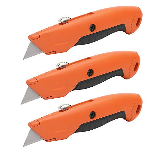 HDX 3 Pack of 60037 3-Position Retractable Utility Knives w/ Replaceable, Reversible Blades