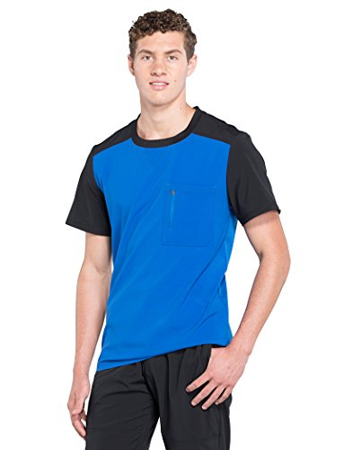 - Cherokee Infinity by Men's Crew Neck Colorblock Solid Scrub Top Large Royal